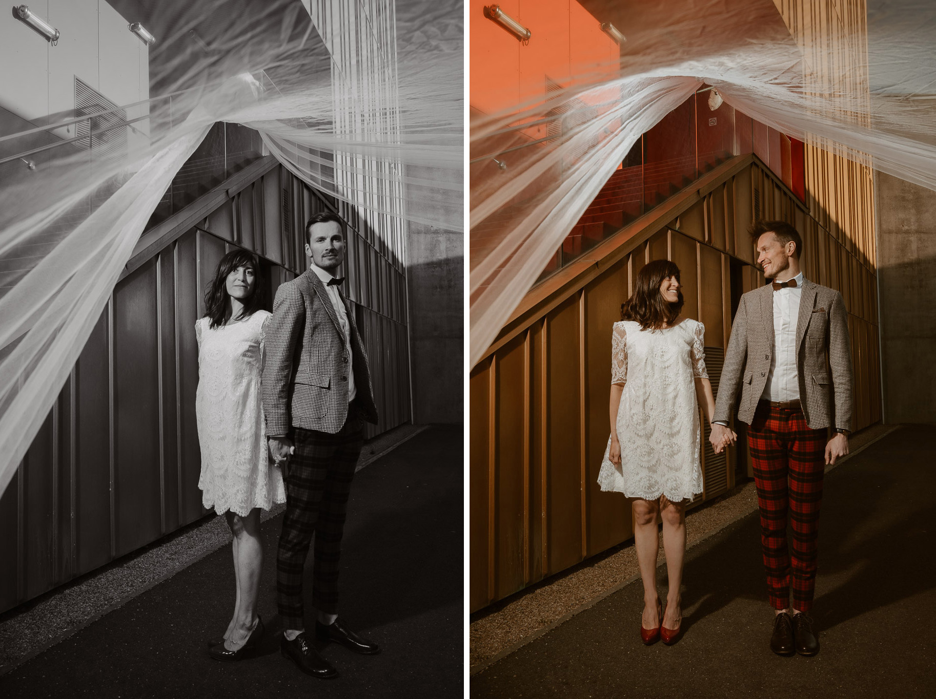 photo d'une séance de couple day-after originale & créative inspirée des univers de la mode et de l'architecture par Geoffrey Arnoldy photographe